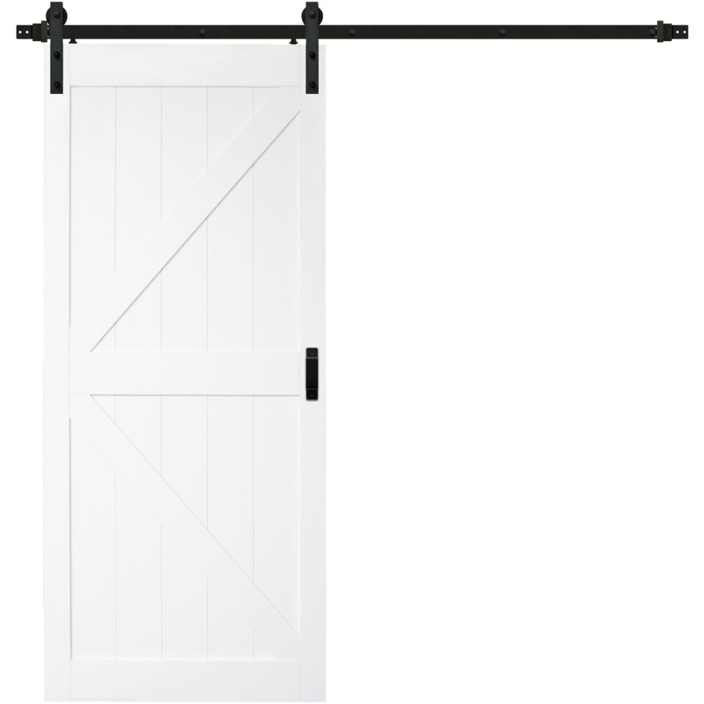 Renin Stone 36 In. W x 84 In. H Easy-Build K-Style White Textured Wood Barn Door Image 1