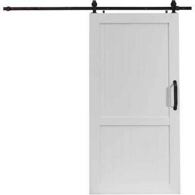 Millbrooke 42 In. x 84 In. x 1.3 In. H-Style White PVC Barn Door Kit