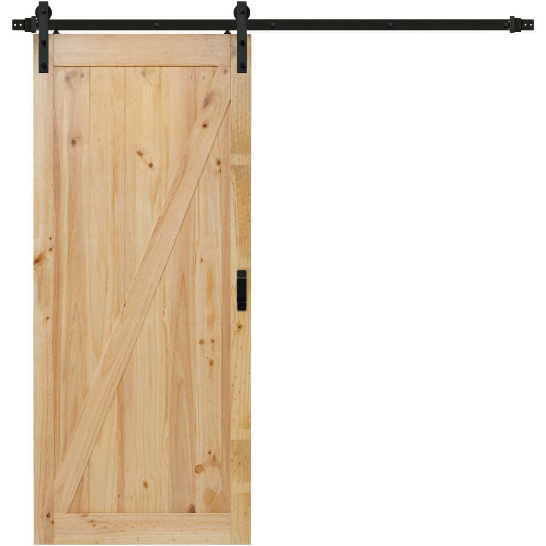 Renin Salinas 36 In. W x 84 In. H Easy-Build Z-Style Unfinished Wood Plank Barn Door Image 1