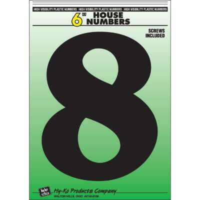 Hy-Ko 6 In. Black Gloss House Number Eight
