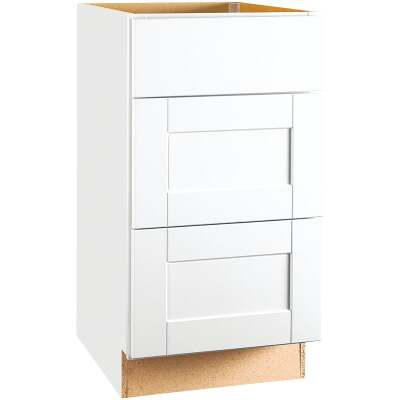 Continental Cabinets Andover Shaker 18 In. W x 34-1/2 In. H x 24 In. D White Thermofoil Kitchen Cabinet Drawer Base