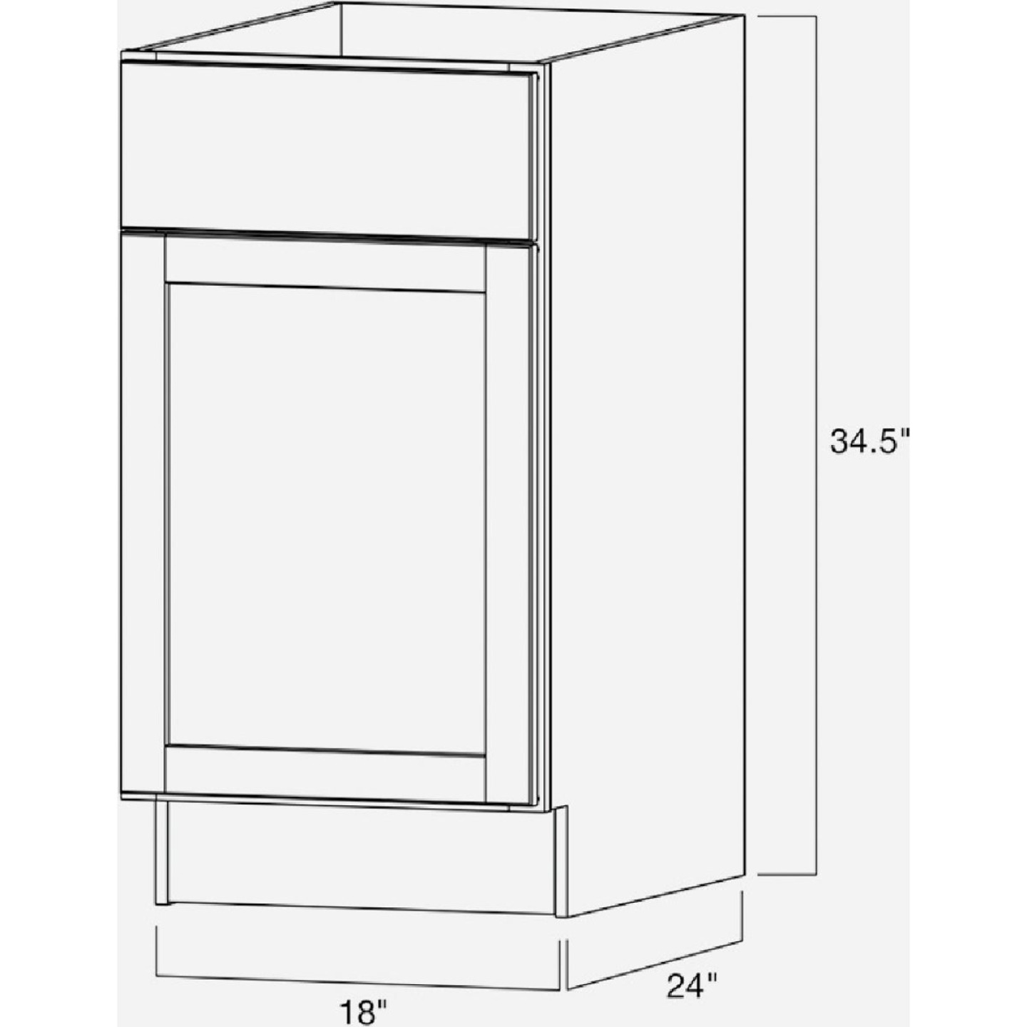 Continental Cabinets Andover Shaker 18 In. W x 34 In. H x 24 In. D White Thermofoil Base Kitchen Cabinet Image 4