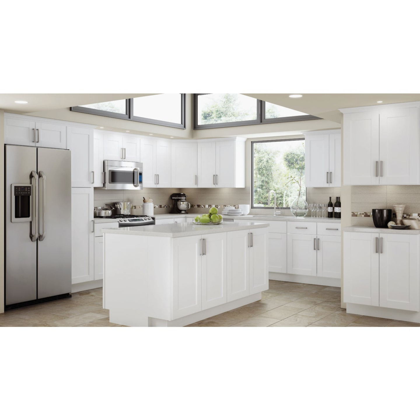 Continental Cabinets Andover Shaker 18 In. W x 34 In. H x 24 In. D White Thermofoil Base Kitchen Cabinet Image 2