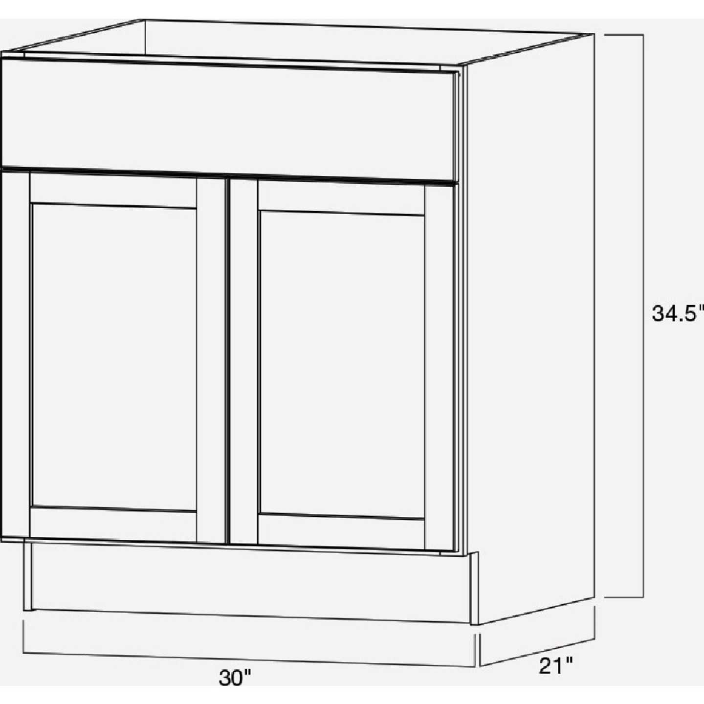 Continental Cabinets Andover Shaker 30 In. W x 34-1/2 In. H x 21 In. D White Vanity Base, 2 Door Image 5