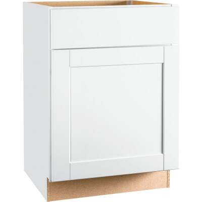 Continental Cabinets Andover Shaker 24 In. W x 34 In. H x 24 In. D White Thermofoil Base Kitchen Cabinet