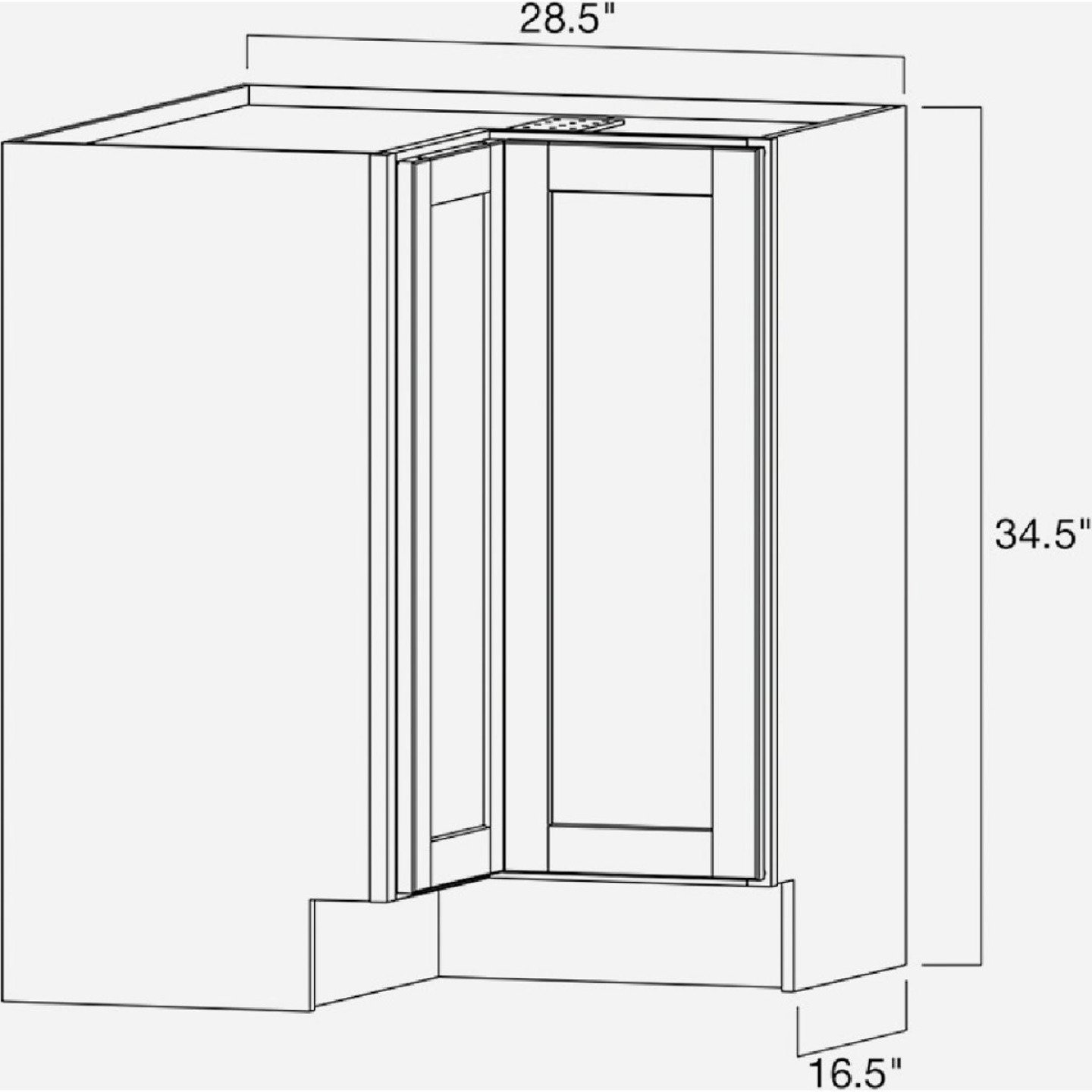 Continental Cabinets Andover Shaker 36 In. W x 34-1/2 In. H x 24 In. D White Thermofoil Lazy Susan Corner Base Kitchen Cabinet Image 4