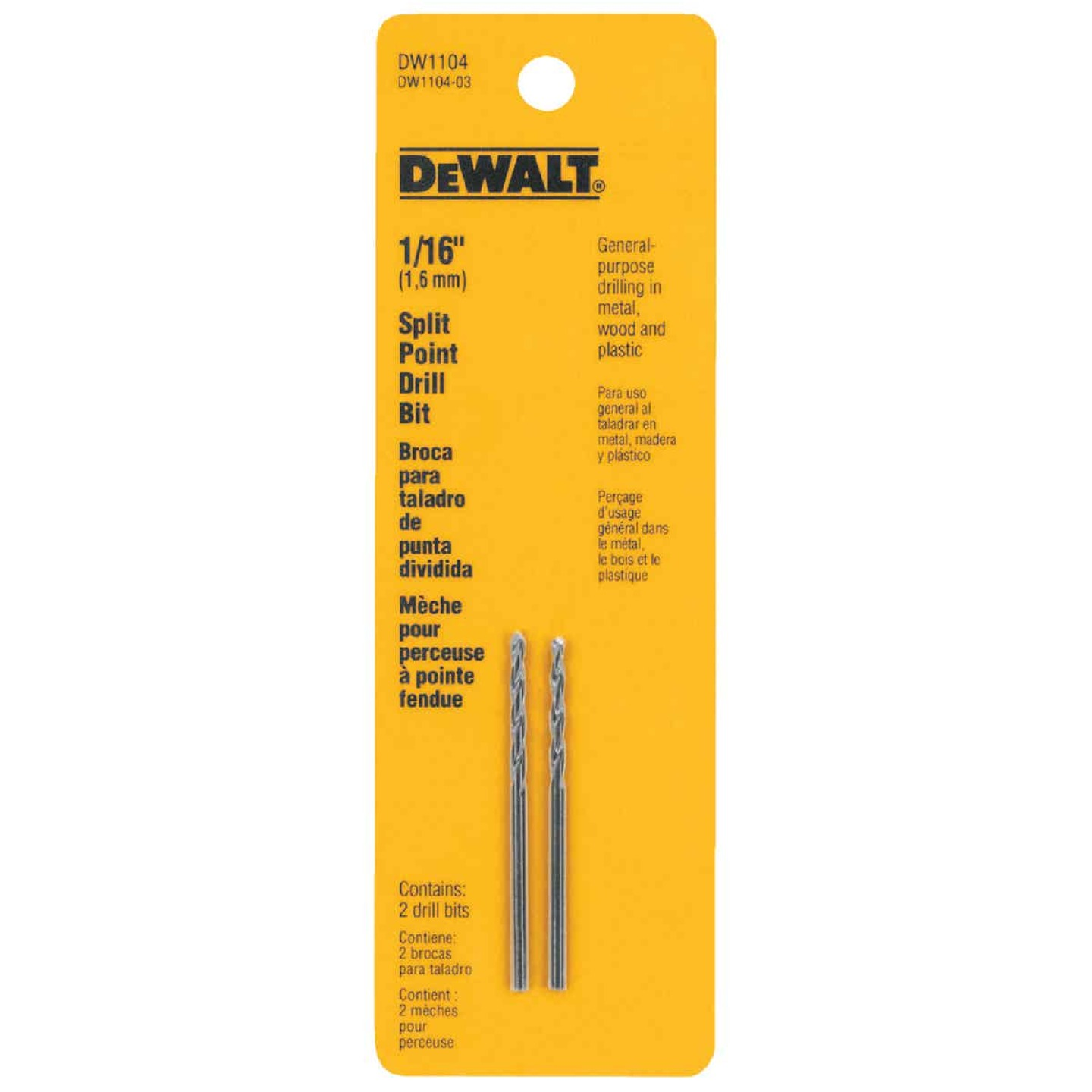 DeWalt 1/16 In. Gold Ferrous Oxide Pilot Point Drill Bit (2-Pack) Image 2