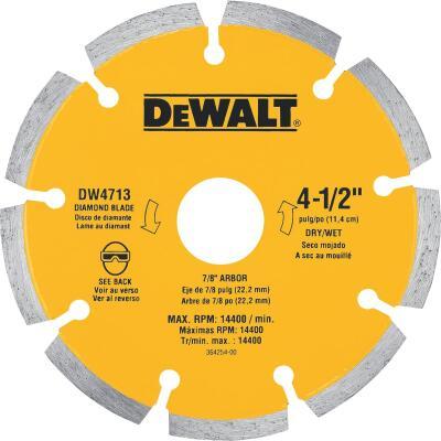 DeWalt Extended Performance 4-1/2 In. Segmented Rim Dry/Wet Cut Diamond Blade (Bulk)
