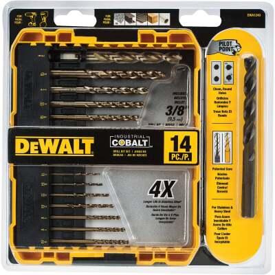 DeWalt 14-Piece Cobalt Drill Bit Set, 1/16 In. thru 3/8 In.