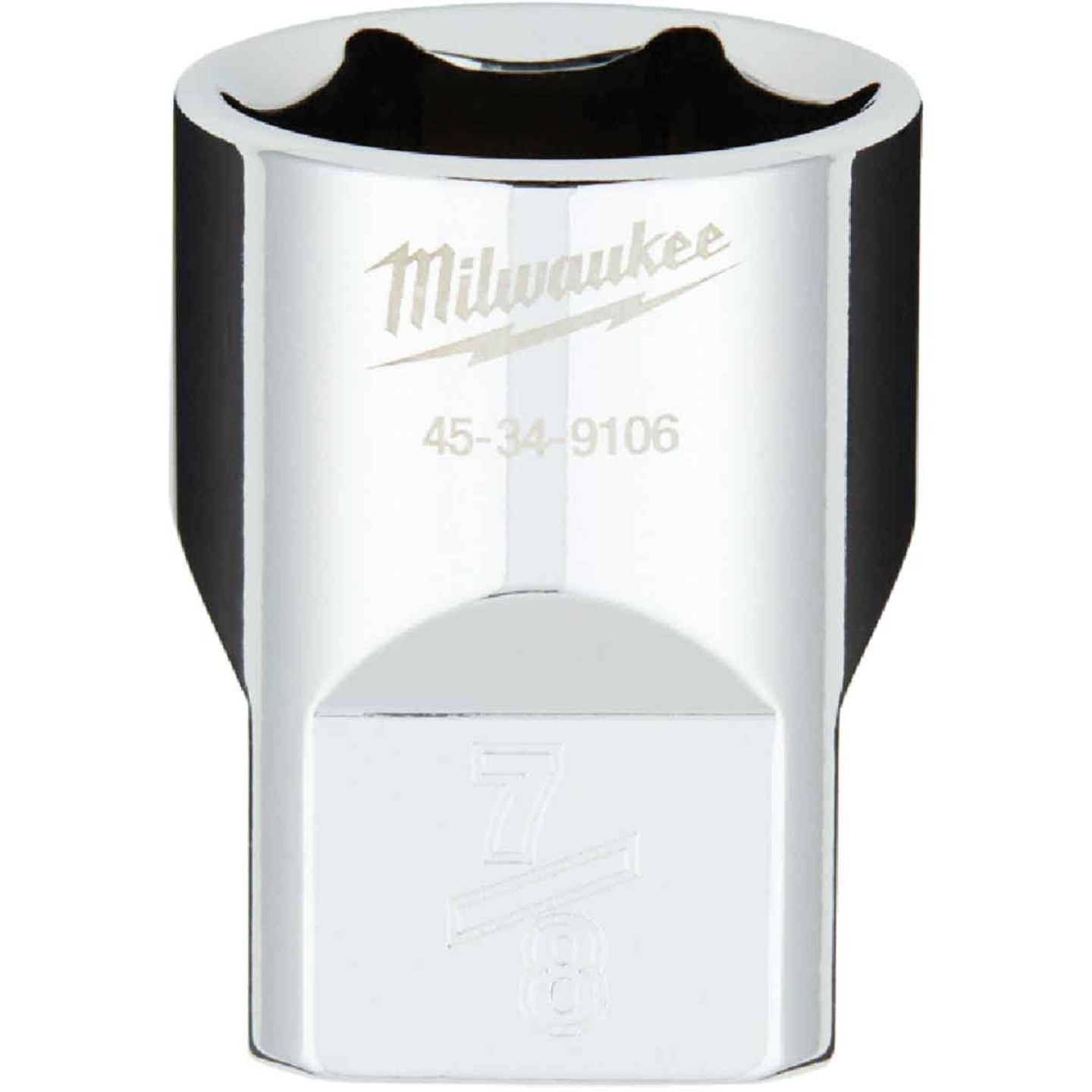 Milwaukee 1/2 In. Drive 7/8 In. 6-Point Shallow Standard Socket with FOUR FLAT Sides Image 1