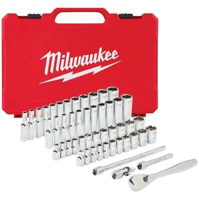 Milwaukee Standard/Metric 1/4 In. Drive 6-Point Ratchet & Socket Set (50-Piece)