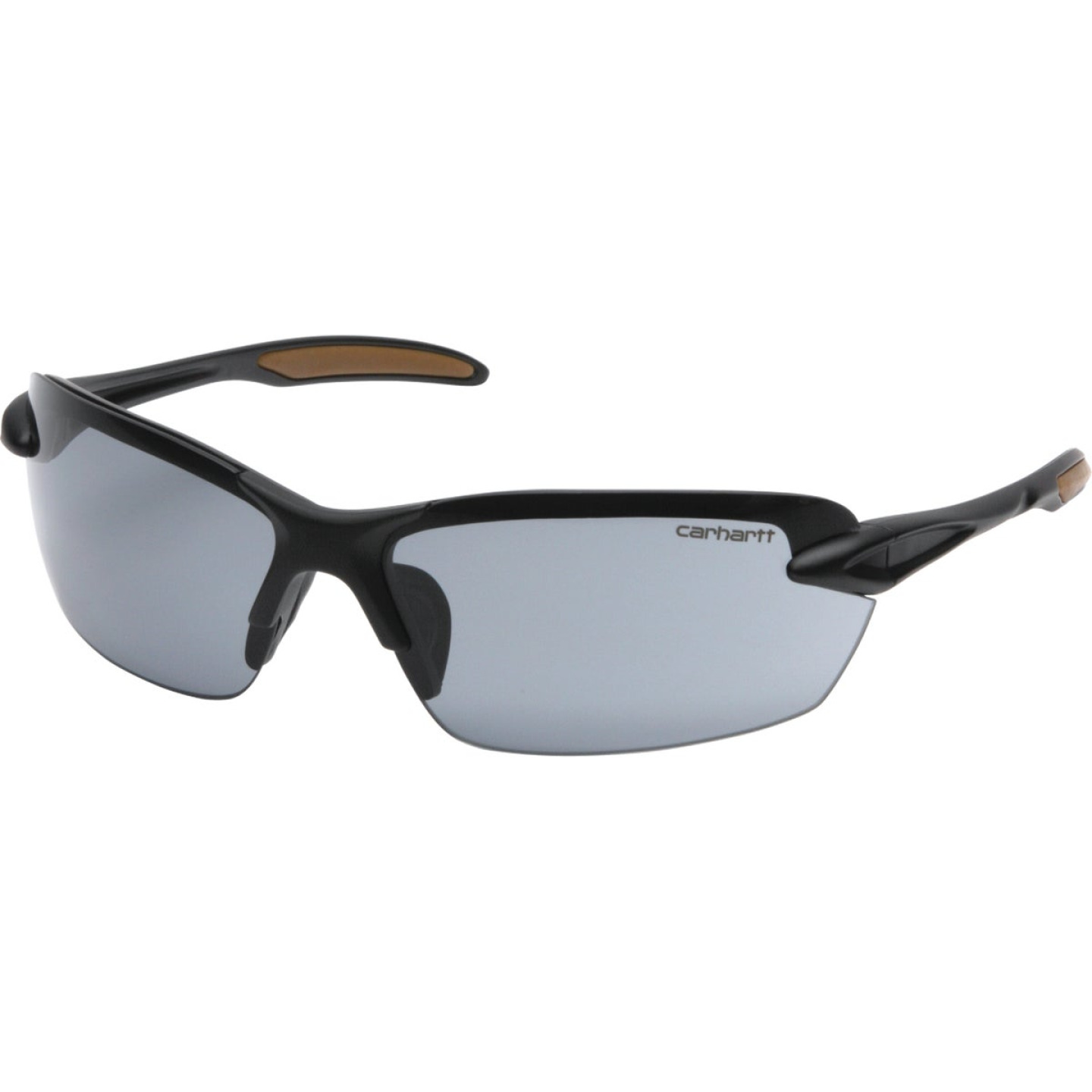 Carhartt Spokane Black Temple Safety Glasses with Gray Lenses Image 1