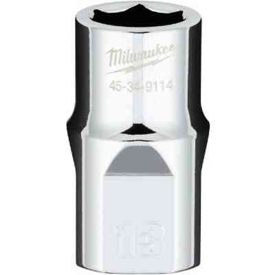 Milwaukee 1/2 In. Drive 13 mm 6-Point Shallow Metric Socket with FOUR FLAT Sides