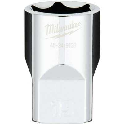 Milwaukee 1/2 In. Drive 19 mm 6-Point Shallow Metric Socket with FOUR FLAT Sides