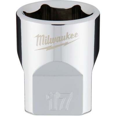 Milwaukee 3/8 In. Drive 17 mm 6-Point Shallow Metric Socket with FOUR FLAT Sides