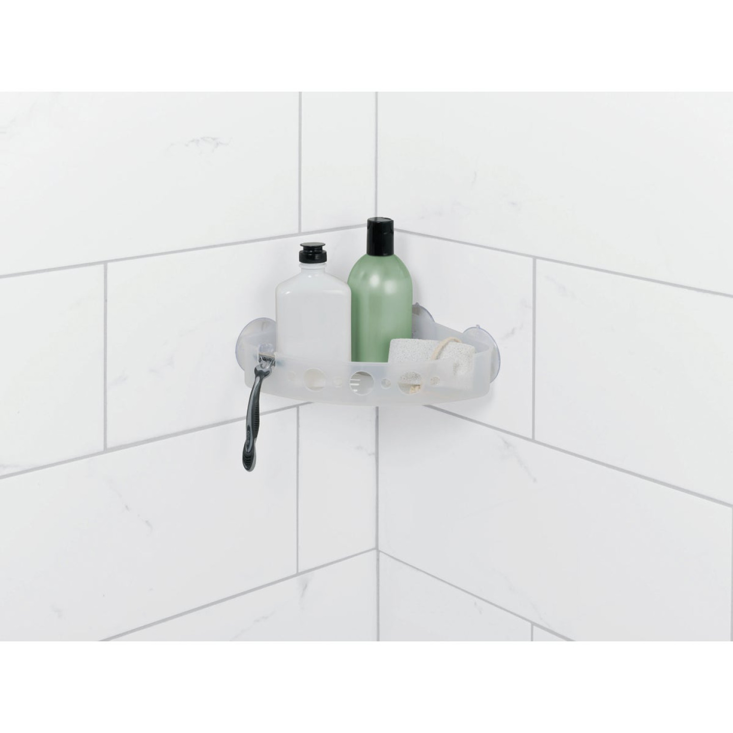 Zenna Home Frosted Finish Suction Corner Bathroom Shelf Image 1
