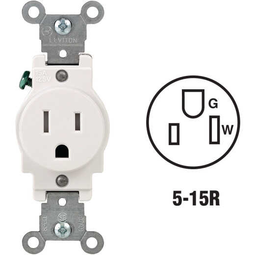 Leviton 15A White Commercial Grade 5-15R Tamper Resistant Single Outlet