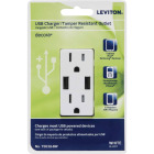 Leviton Decora 3.6A 5V White 2-Port USB Charging Outlet with 5-15R Tamper Resistant Duplex Outlet Image 4