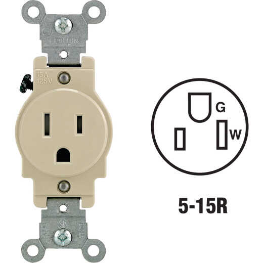 Leviton 15A Ivory Commercial Grade 5-15R Tamper Resistant Single Outlet