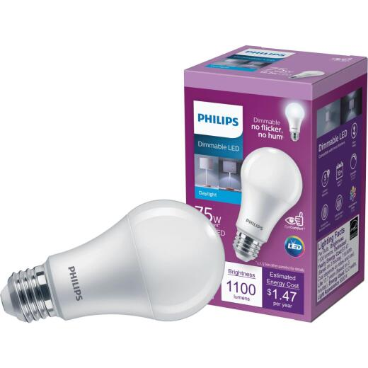 Philips 75W Equivalent Daylight A19 Medium Dimmable LED Light Bulb, Title 20 Compliant