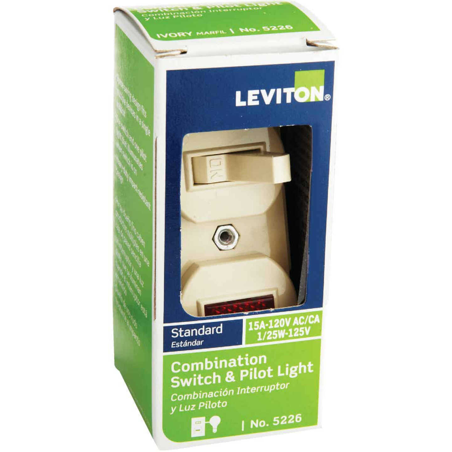 Leviton Commercial Grade Ivory 15A Switch & Pilot Light Image 2
