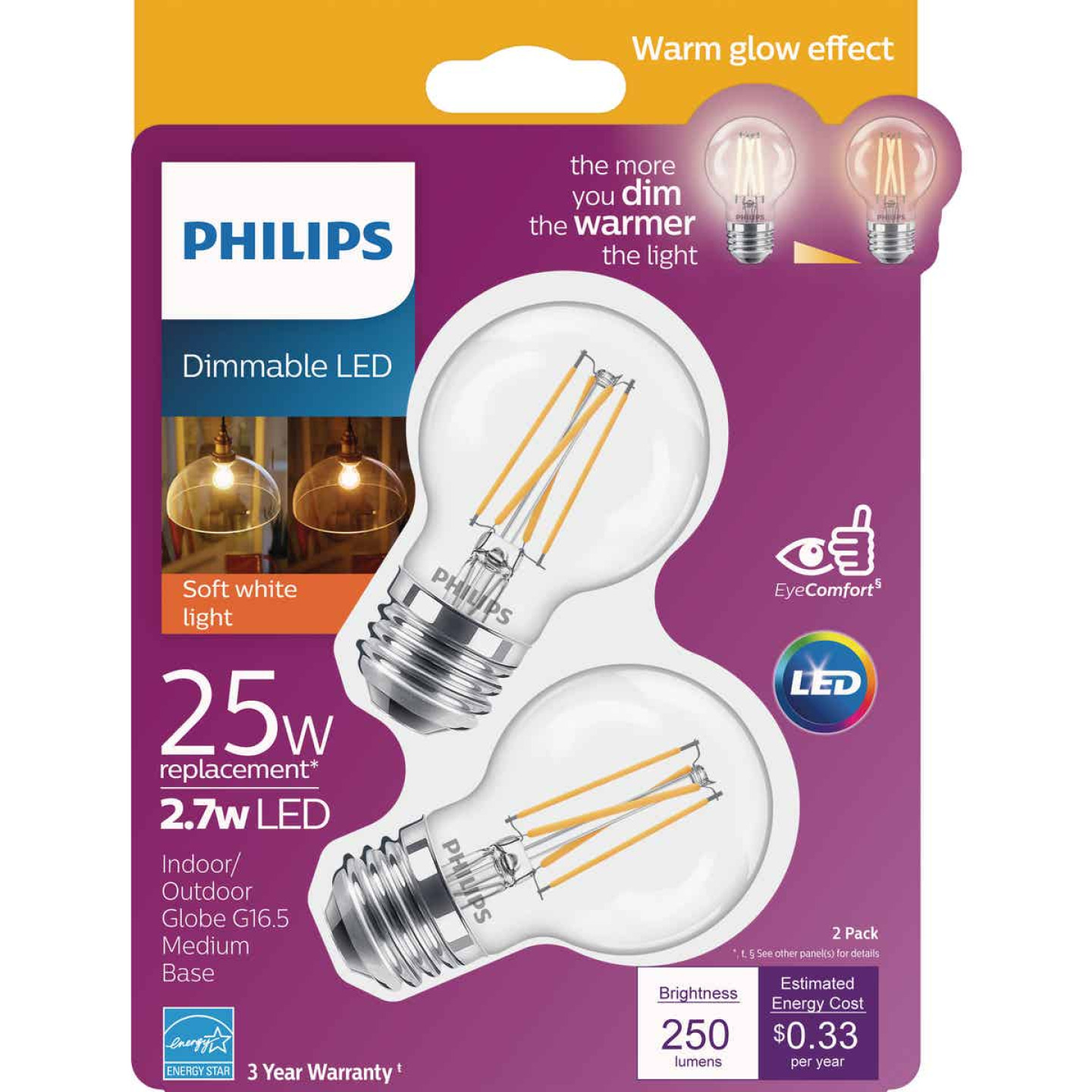 Philips Warm Glow 25W Equivalent Soft White Medium G16.5 LED Decorative Light Bulb, Title 20 (2-Pack) Image 1