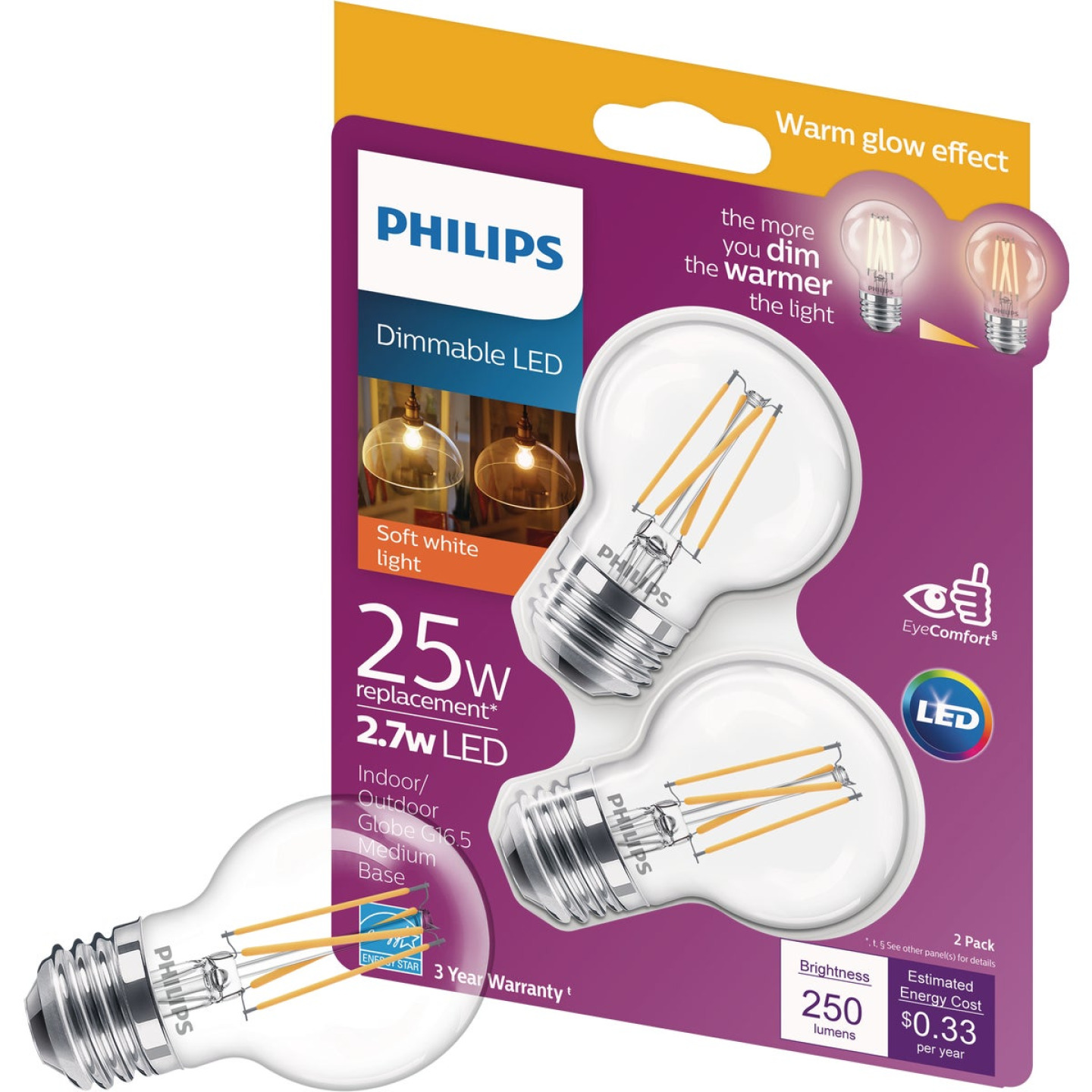 Philips Warm Glow 25W Equivalent Soft White Medium G16.5 LED Decorative Light Bulb, Title 20 (2-Pack) Image 2