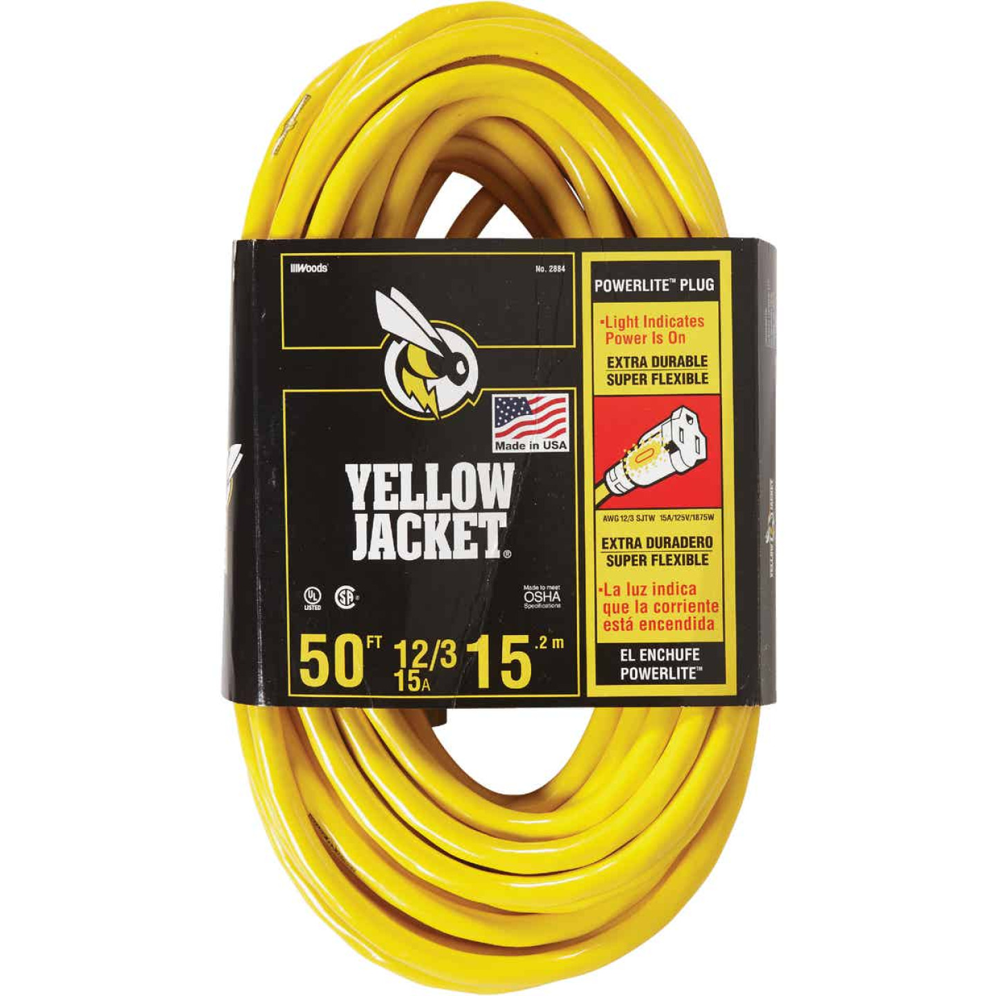Yellow Jacket 50 Ft. 12/3 Heavy-Duty Extension Cord w/Lighted End Image 1