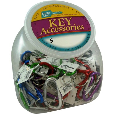 Lucky Line Assorted Colors 3-1/8 In. Large C-Clip Key Ring Countertop Display