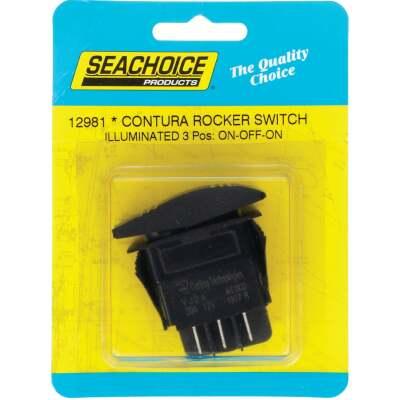 Seachoice Contura 20A 12V Black Illuminated Rocker Switch, On/Off/On