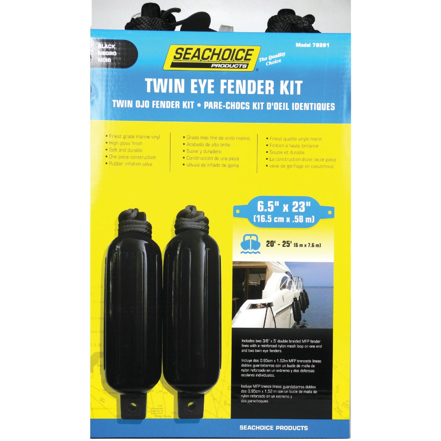 Seachoice 6 In. x 23 In. Black Twin Eye Boat Fender Kit (2-Pack) Image 1