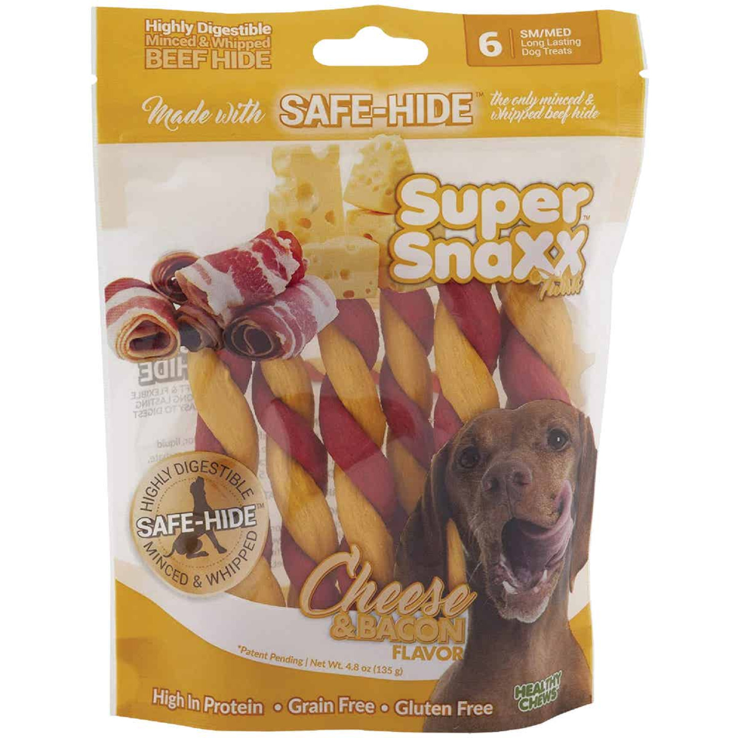 Healthy Chews Super SnaXX Braids Cheese & Bacon Dog Treat (4-Pack) Image 1