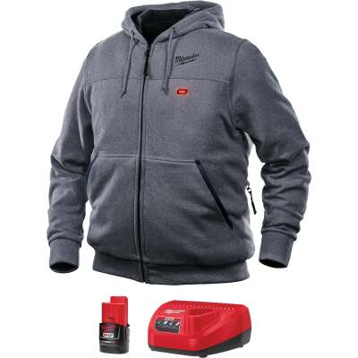 Milwaukee M12 Large Gray Men's Heated Full Zip Hooded Sweatshirt