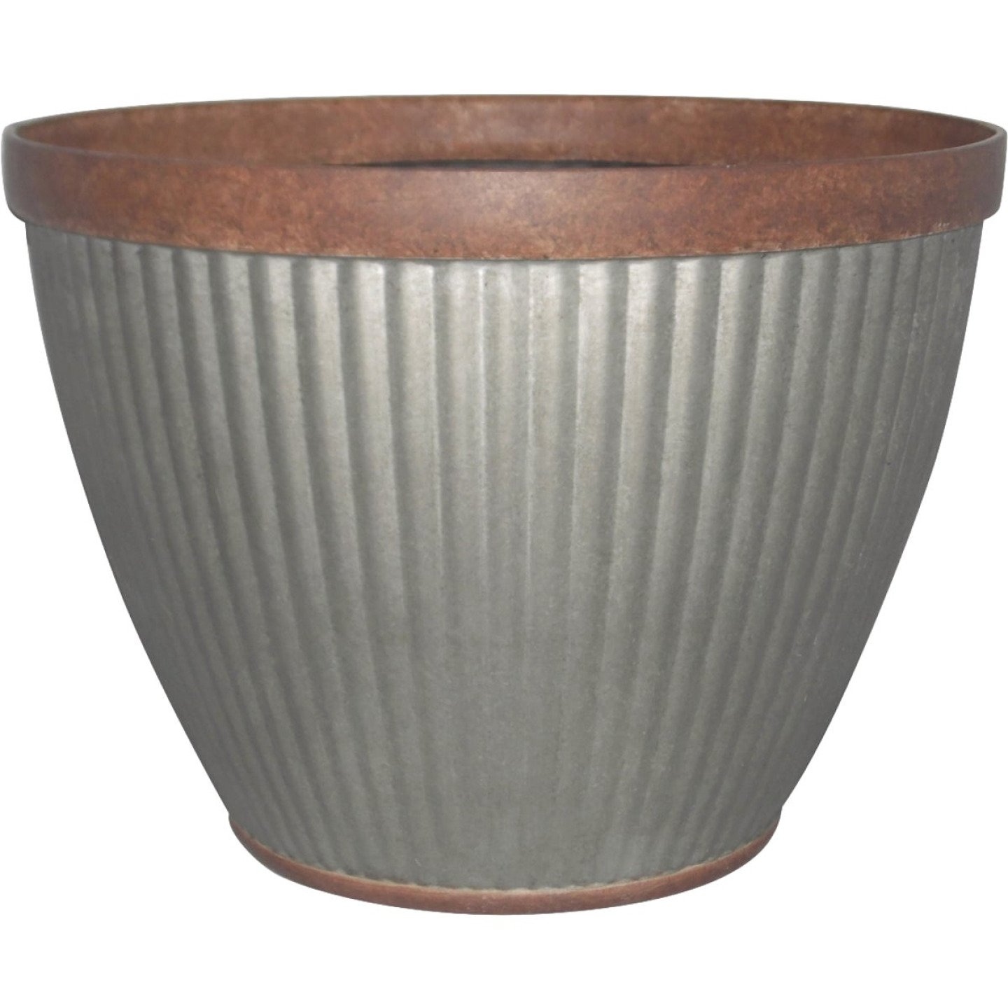 Southern Patio Westlake 10 In. Resin Rustic Galvanized Round Pleated Planter Image 1