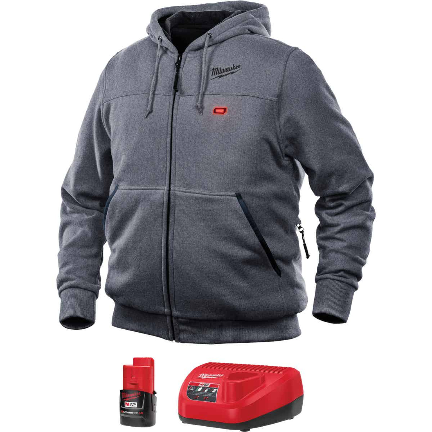 Milwaukee M12 XL Gray Men's Heated Full Zip Hooded Sweatshirt Image 1