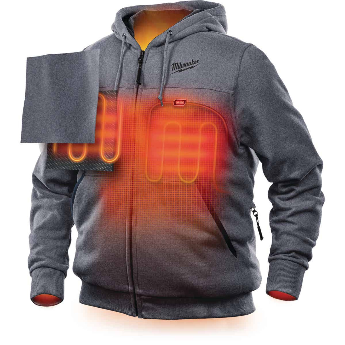 Milwaukee M12 XL Gray Men's Heated Full Zip Hooded Sweatshirt Image 6