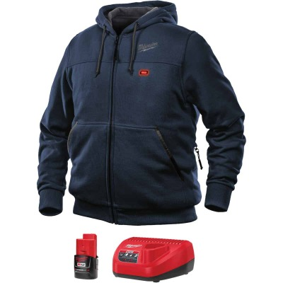 Milwaukee M12 2XL Navy Blue Men's Heated Full Zip Hooded Sweatshirt