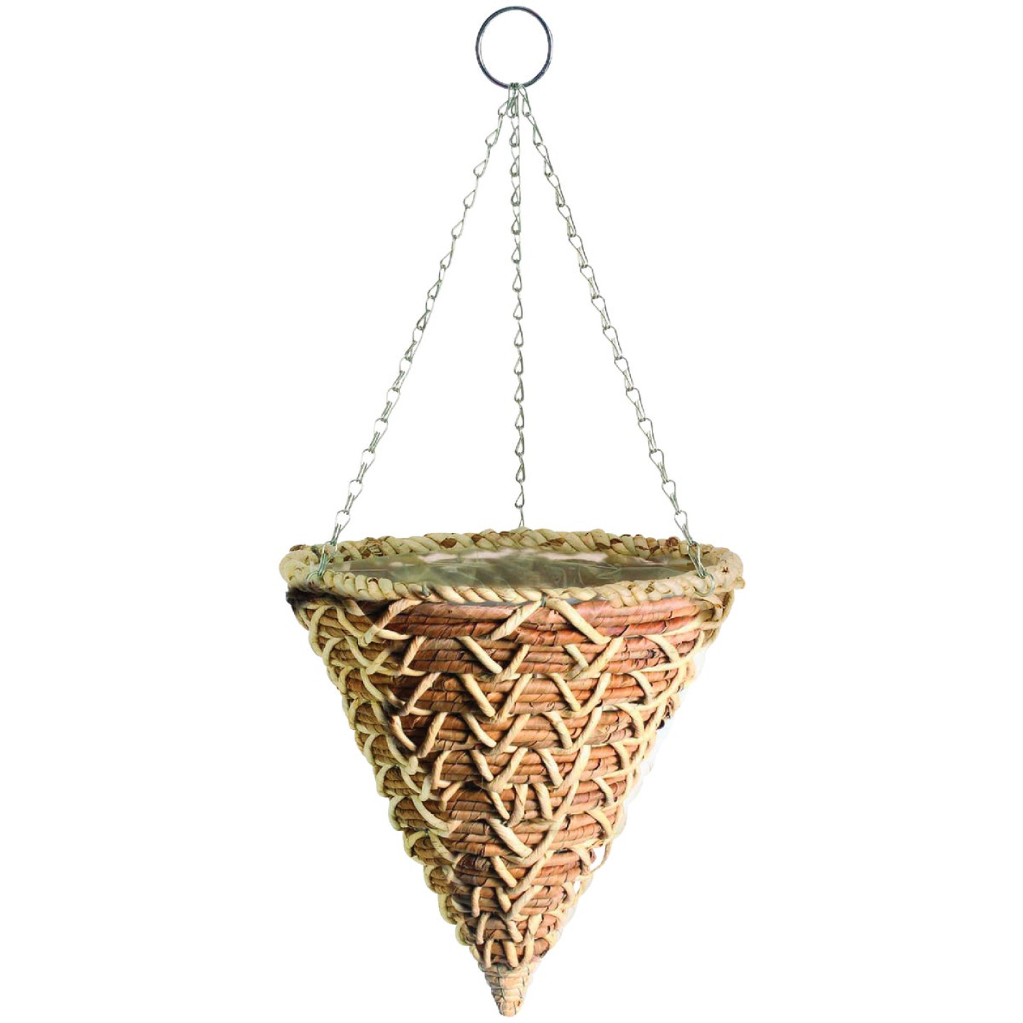 Gardman 14 In. Banana Braid Fiber Woven Hanging Plant Basket Cone Image 1