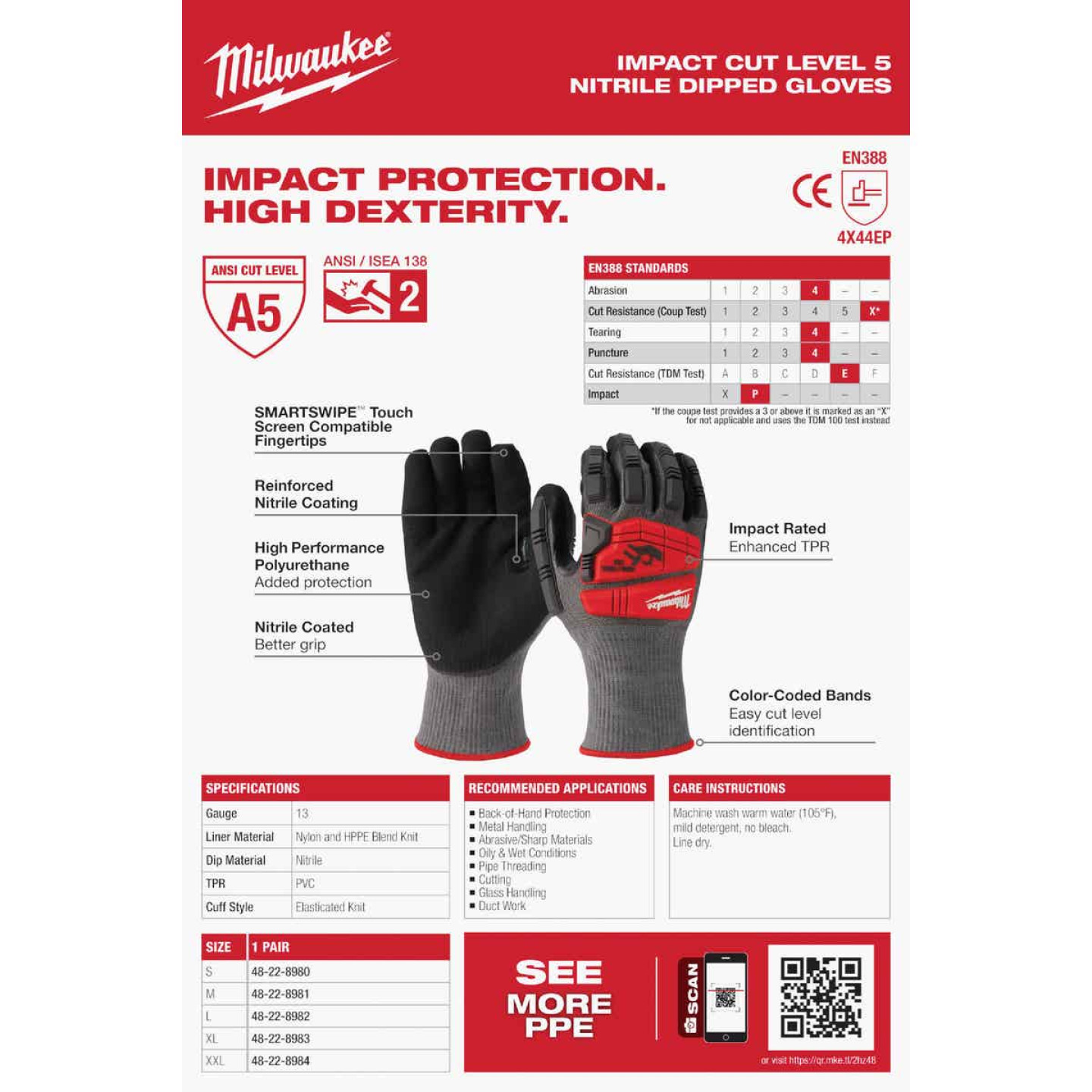 Milwaukee Impact Cut Level 5 Men's Large Nitrile Dipped Work Gloves Image 5