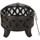 Outdoor Expressions 26 In. Antique Bronze Deep Bowl Steel Firepit Image 1