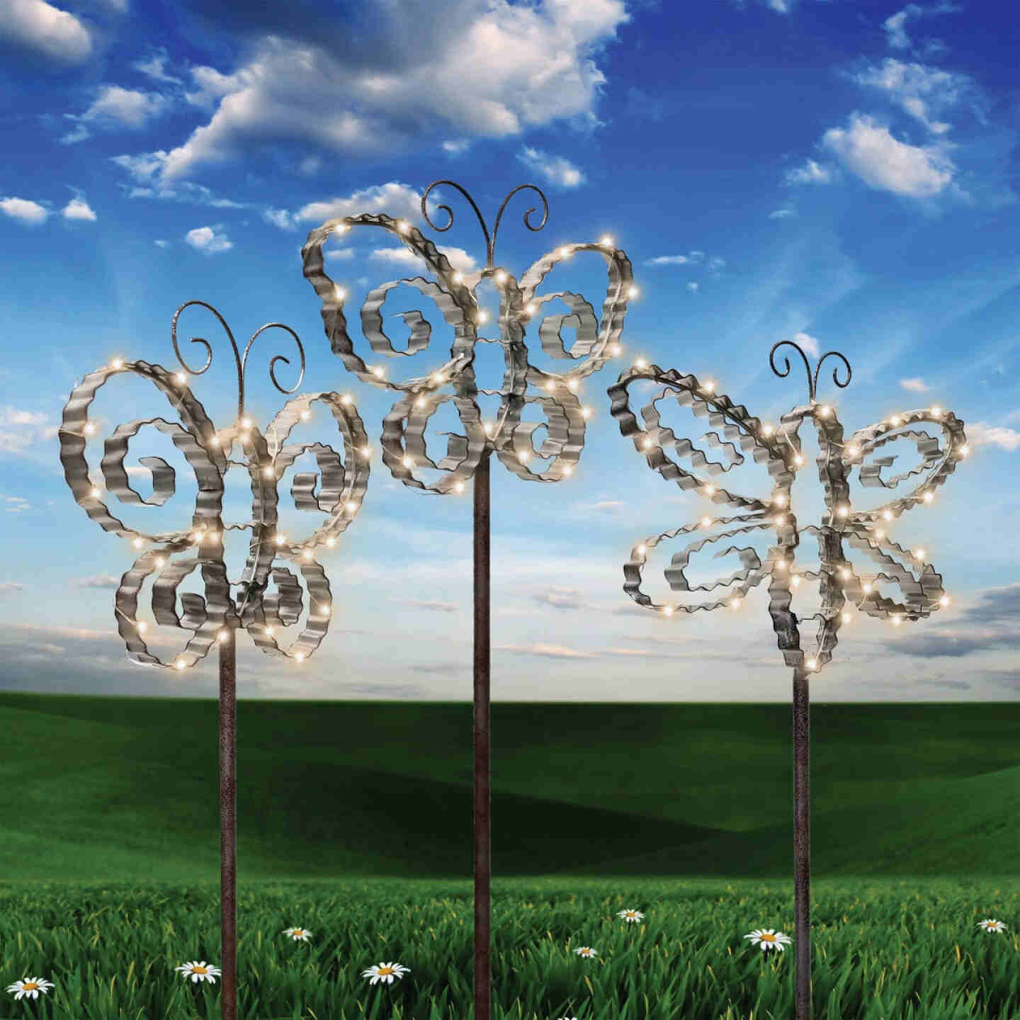 Alpine Metal 33 In. H. Insect Solar Stake Light Image 2