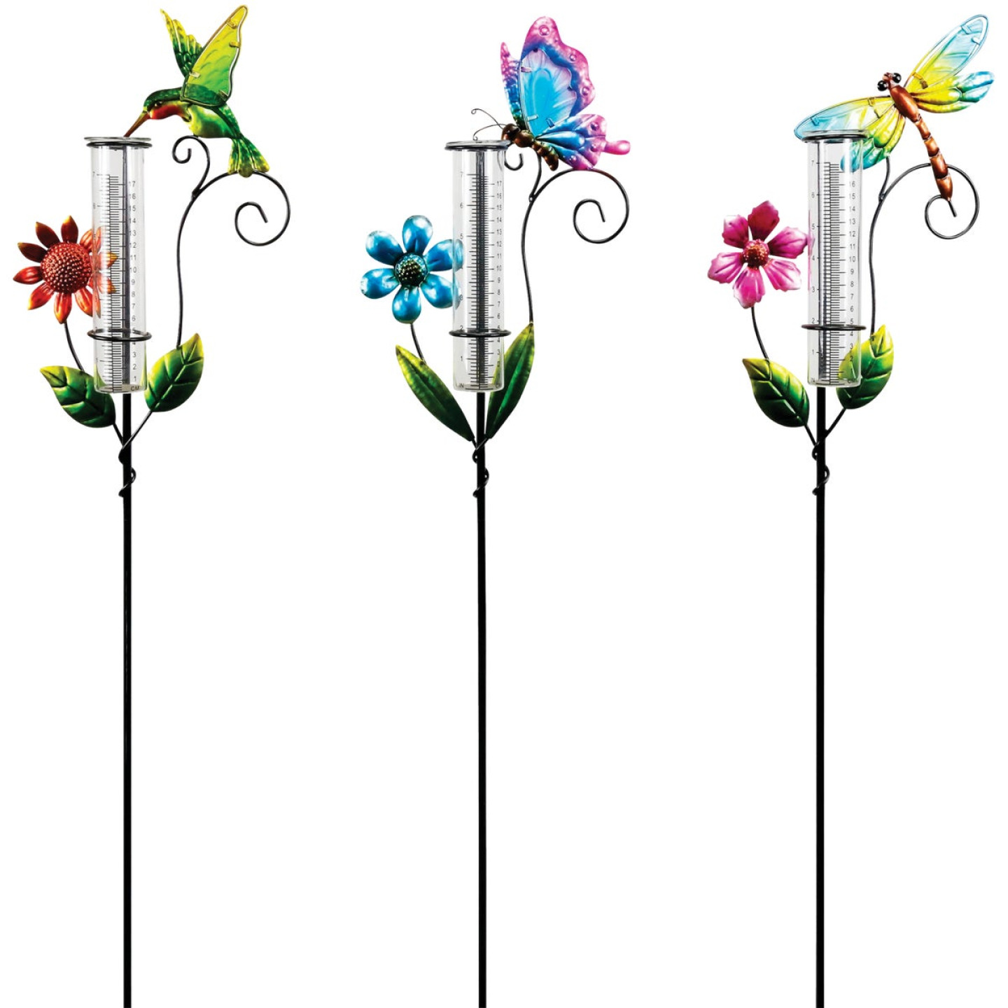 Alpine 36 In. H. Metal Stake Decorative Glass Rain Gauge Image 1
