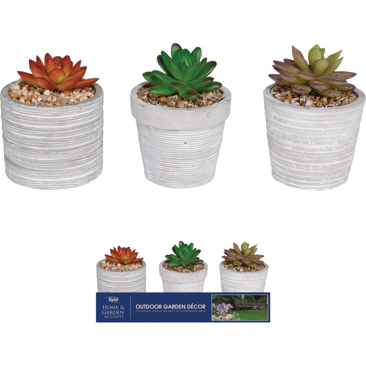 Alpine 5 In. Resin Decorative Succulent Pot Lawn Ornament Image 1
