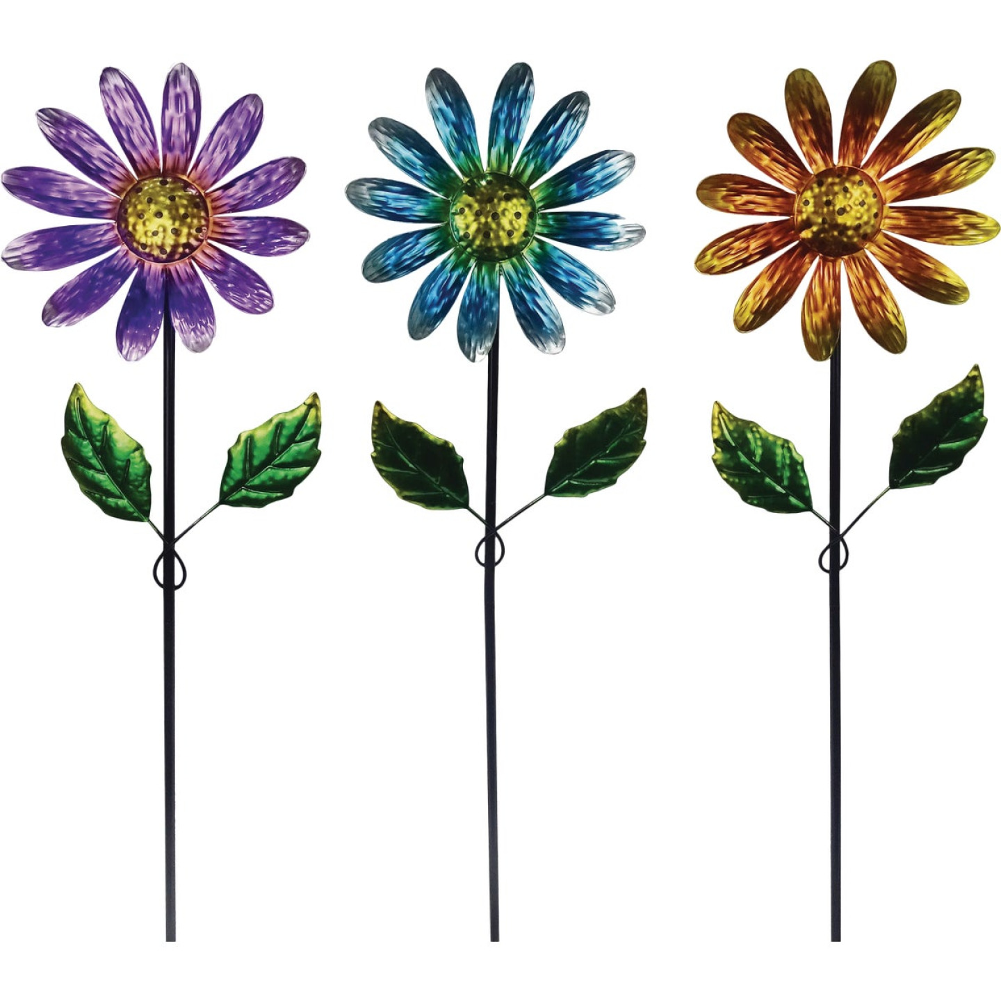 Alpine 32 In. Metal Daisy Garden Stake Lawn Ornament Image 1
