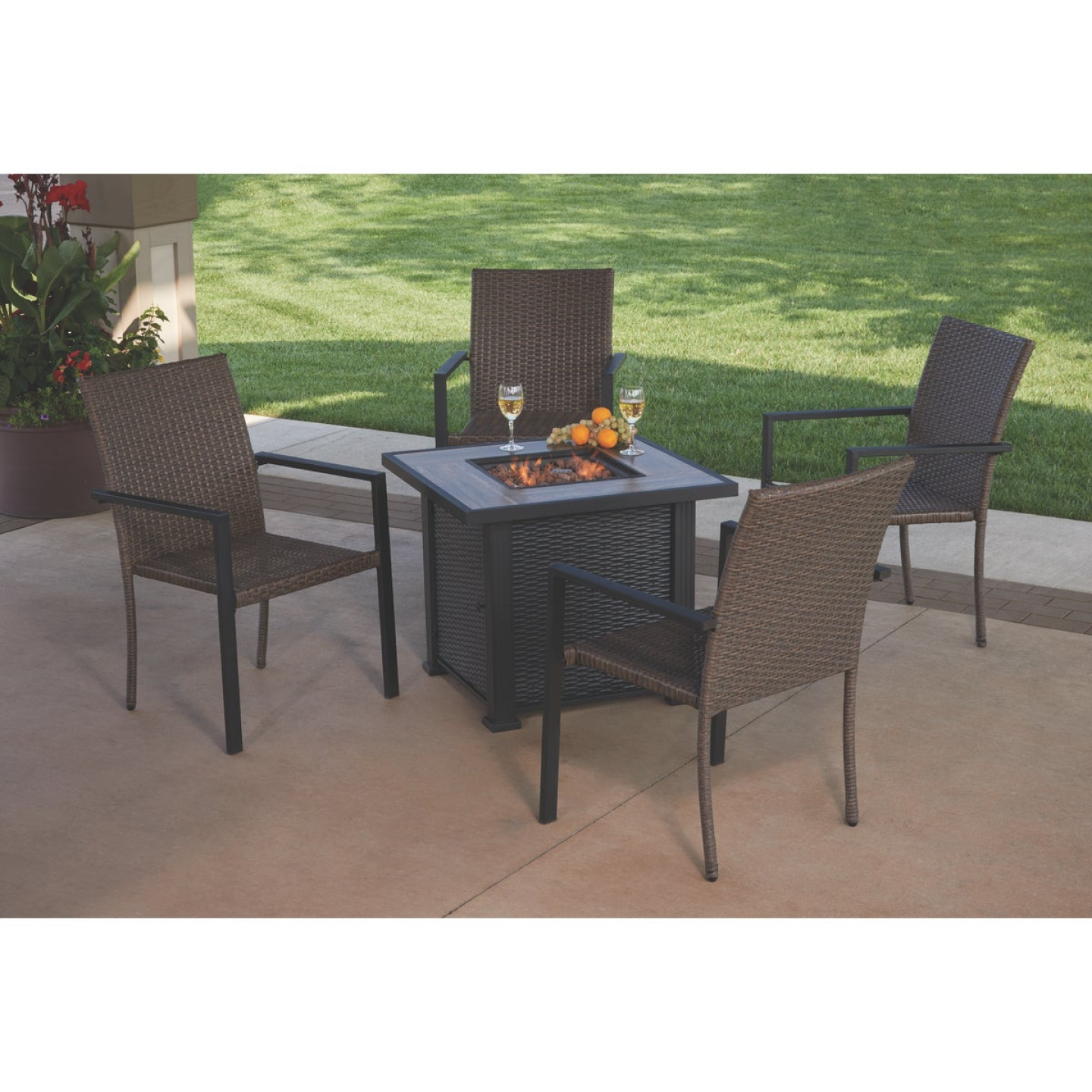 Leisure Classics Madrid 5-Piece Fire Table Chat Set Image 2