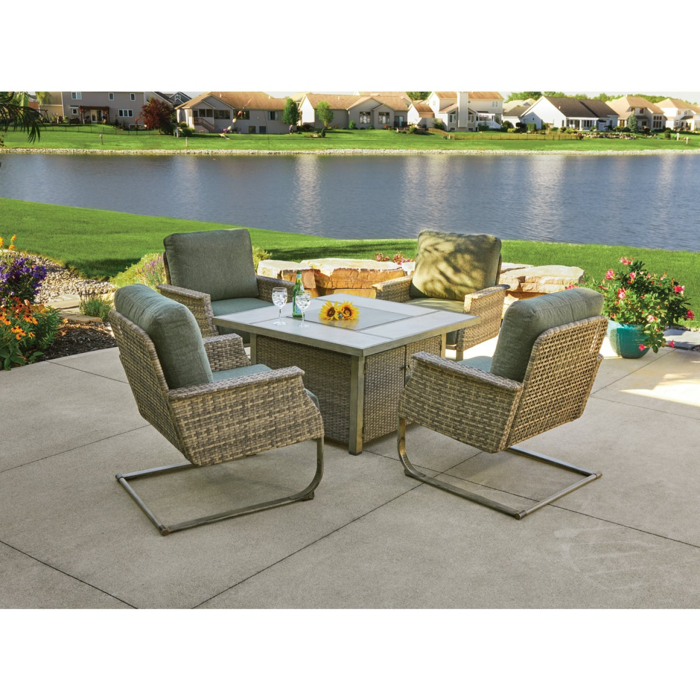 Pacific Casual Shady Creek 5-Piece Gas Fire Pit Chat Set Image 3