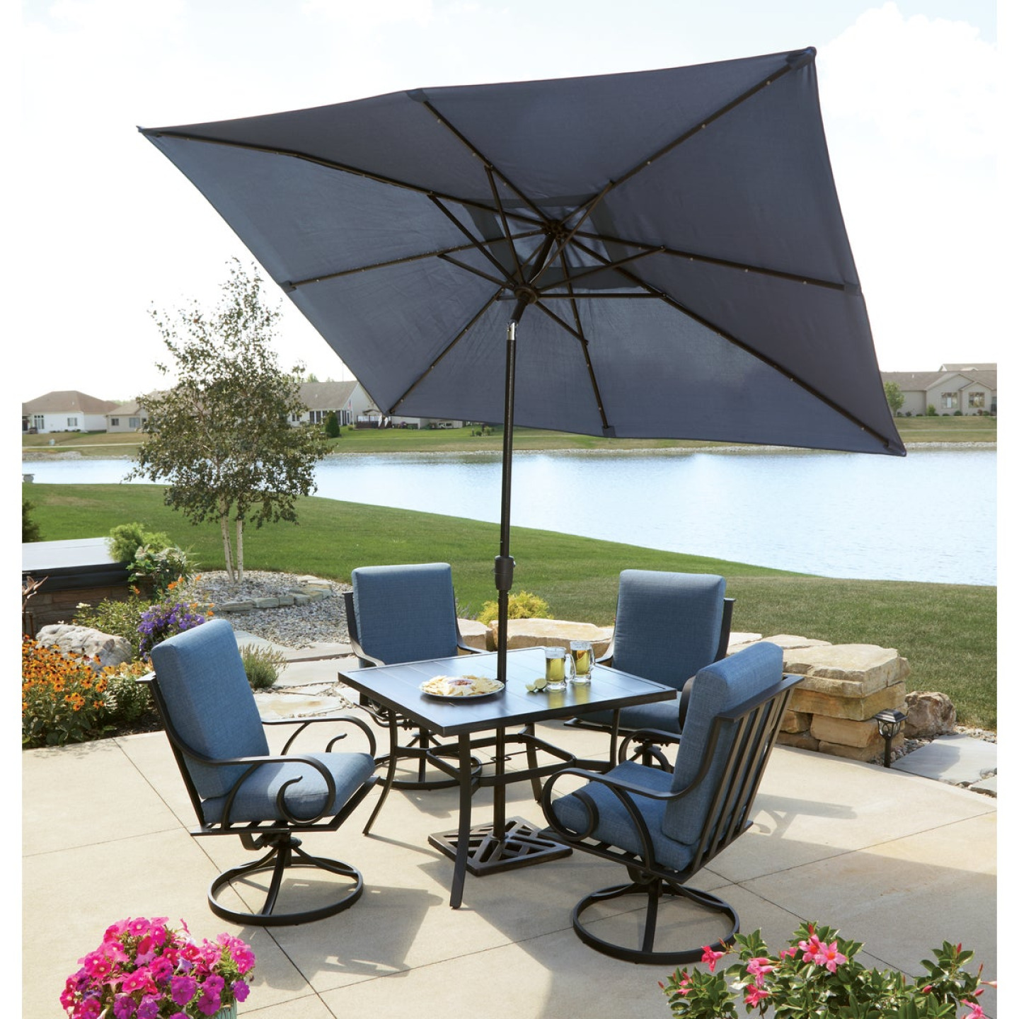Pacific Casual Capri 5-Piece Fully Cushioned Swivel Dining Set Image 6