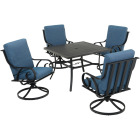 Pacific Casual Capri 5-Piece Fully Cushioned Swivel Dining Set Image 1